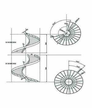 Plan d'ensemble escalier rayonnant